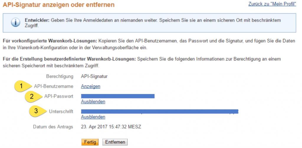 PayPal Konten verwalten - API Signatur anzeigen