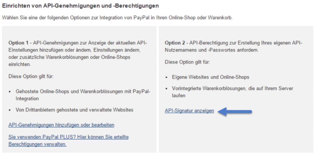 PayPal einbinden - Signatur erstellen
