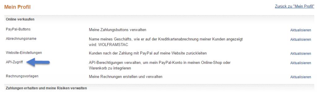 PayPal einbinden - API Zugriff