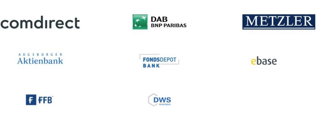 Ein guter Fondsdiscounter hat viele namhafte Partnerbanken - hier sehen Sie die Partnerbanken von Rentablo.