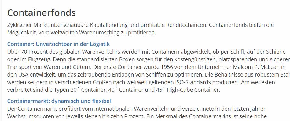 Unverzichtbar, dynamisch, flexibel: So werden Containerfonds angeboten