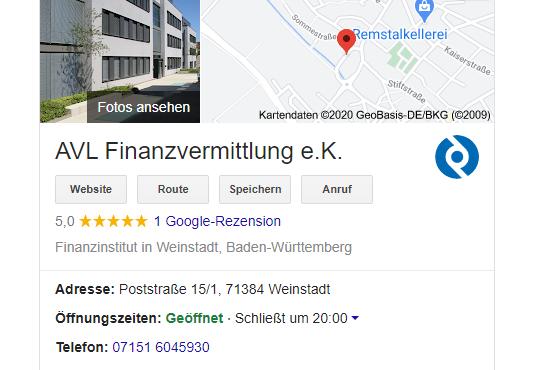 AVL: Eine Top-Bewertung via Google.