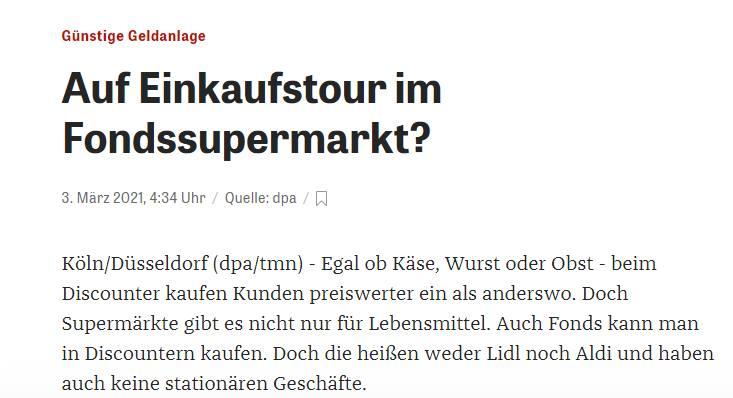 Supermärkte gibt es auch für Fonds, das nennt sich dann Fondssupermarkt, so dpa.
