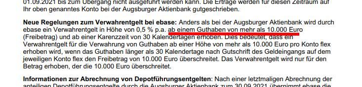Mit dem Übergang von Augsburger auf ebase verbunden: Negativzinsen schon ab10.000 Euro.